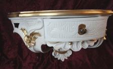 Wandkonsole/Spiegelkonsolen/Wandregal BAROCK Weiß-Gold B:50cm cp84 IVORY