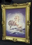 Gerahmte Pferde Bild Gemälde Pferde Bilderahmen Gold 90x70cm Bild Pferd Weiß