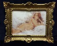 Akt Erotik Gemälde Frau Kunstdruck Frau Nackt 56x46 Bild mit Rahmen Barock 01