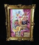 Obst Blumen Bild Gemälde mit Rahmen 90x70cm Gerahmte Bilder Weintrauben frutta 1
