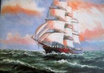 Gemälde Segelschiff Meer Schiffe Seefahrt 90x70 Schiffsbilderauf Hoher See Nr71