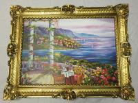 Landschafts Bild Gemälde Haus am See Möven Landschaftsbild 90x70 MDF Rückwand L4