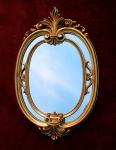 Wandspiegel Oval Gold Barock Badspiegel Antik Ovaler Spiegel 60X39 Mirror c462
