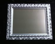 Wandspiegel 43x36 Spiegel BAROCK Rechteckig Antik 3059 SILBER Arabesco 1
