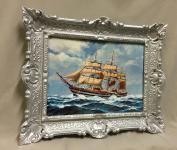 Segelschiff Bild mit Rahmen barock 56x46 Meer Maritime Schiff Gemälde Antik