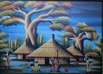 Kamango Asien Bild Landschafts Bild auf MDF 50x70cm Wandbild Bild Afrika