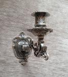 Antik Wandkerzenhalter, Wandleuchter, Klavier, Messing brünniert, Silber