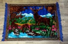 Wandteppich aus Italien 170 cm X 120 cm Hirsch Reh Bambi Motiv Wandbehang Blau