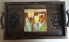Tablett Serviertablett Braun mit blumen tulpen Holz Deko Landhaus metall griffe