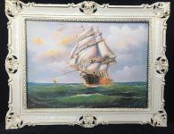 Gemälde Segelschiff Meer Schiffsbilder Seestück Maritime Schiffe 90x70 Weiß-Gold