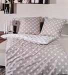 Janine Mako Satin Bettwäsche 135x200 Bettgarnitur Taube Weiß Stern Baumwolle