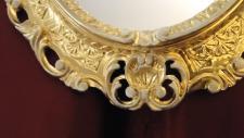 Wandspiegel Oval Gold-Weiß ANTIK BAROCK 45X37 Neu 02