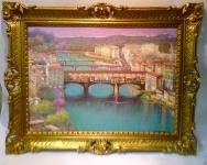 Venedig Bild mit Rahmen Antik 90x70 Brücke Florenz Aquarell Brücke über den Arn