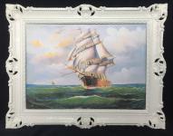 Gemälde Segelschiff Meer Schiffsbilder Seestück Maritime Schiffe 90x70 Rahmen