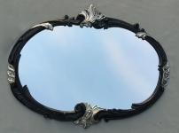 Wandspiegel Barock Oval Schwarz Silber 52x42 Badspiegel Vintage Antik Retro C17