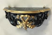 Wandkonsole Barock Schwarz Gold Wandregal 30x15 Spiegelkonsole Antik Ablage Cp73