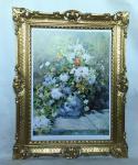Gemälde Blumen Bild 90x70 Bild mit Rahmen Weße Rosen in Vase gerahmt B15
