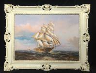 Gemälde Segelschiff Meer Schiffsbilder Seestück Maritime Weiß Gold Schiffe 90x70