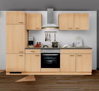 Küchenzeile MANKAPORTABLE 1 Küche 270cm Küchenblock in Buche mit E-Geräten