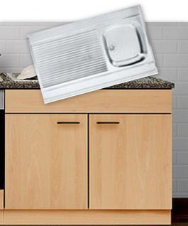 Spülenunterschrank mit Auflagespüle MANKAPORTABLE Buche 100x50cm Küche Spüle