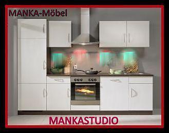 Küchenzeile MANKASTUDIO 1 Küche 280cm Küchenblock Weiss/Kirschbaum mit E-Geräte