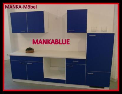 Küchenzeile MANKABLUE 3 Küche 270cm Küchenblock Blau/Weiß ohne E-Geräte