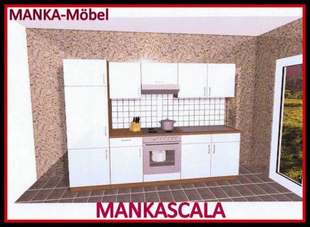 Küchenzeile MANKASCALA 1 Küche 270cm Küchenblock HochglanzWeiss/Eiche m.Geräte - Vorschau 1