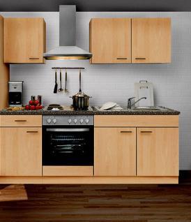 Küchenzeile MANKAPORTABLE 9 Küche 210cm Küchenblock in Buche m. E-Geräte u.Spüle