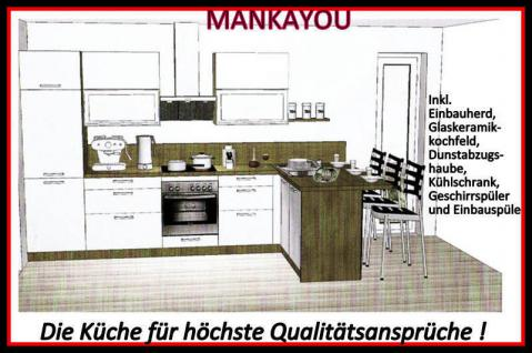 einbauk che mankayou 2 k che k chenzeile l form 355x190cm weiss hochglanz lack kaufen bei. Black Bedroom Furniture Sets. Home Design Ideas