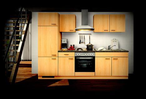 Einbauküche MANKAALPHA 1 Buche Küche Küchenzeile 270cm Küchenblock mit E-Geräten - Vorschau 1