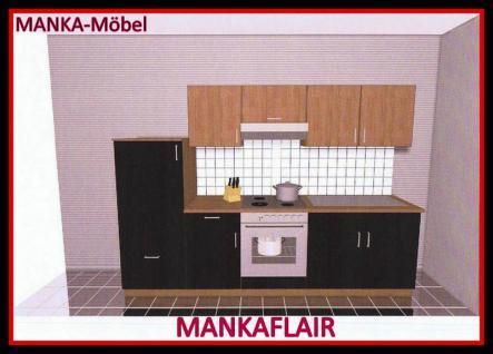 Küchenzeile MANKAFLAIR 1 Küche 270cm Küchenblock HochglanzSchwarz/Kirsch m.Gerät - Vorschau 1