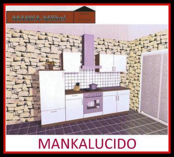 Küchenzeile MANKALUCIDO 3 Küche 270cm Küchenblock HochglanzWeiss/Kirsch o.Geräte