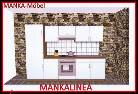 Küchenzeile MANKALINEA 1 Küche 270cm Küchenblock Weiss/Kirschbaum mit E-Geräte