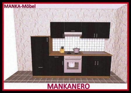 Küchenzeile MANKANERO 1 Küche 270cm Küchenblock HochglanzSchwarz/Sonoma m.Geräte
