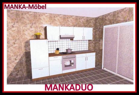 Küchenzeile MANKADUO 3 Küche 270cm Küchenblock HochglanzWeiss/Kirschb. o.Geräte
