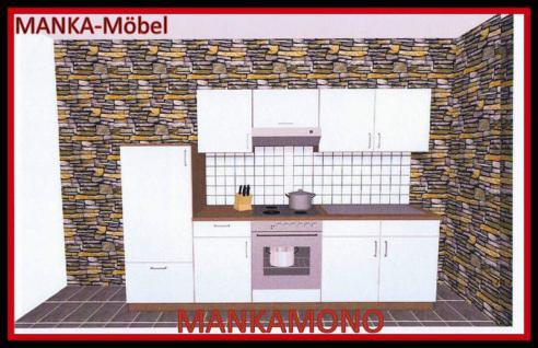 Küchenzeile MANKAMONO 3 Küche 270cm Küchenblock Weiss/Kirschbaum ohne E-Geräte
