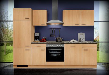 Einbauküche MANKAGAMMA 1 Buche Küche Küchenzeile 280cm Küchenblock mit E-Geräte