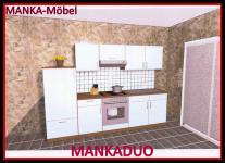 Küchenzeile MANKADUO 2 Küche 270cm Küchenblock HochglanzWeiss/Kirschb. m.Geräte