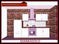 Küchenzeile MANKASOLO 3 Küche 270cm Küchenblock Weiss/Kirschbaum ohne E-Geräte