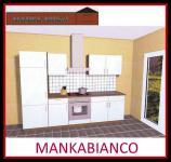 Küchenzeile MANKABIANCO 2 Küche 270cm Küchenblock HochglanzWeiss/Kirsch m.Geräte
