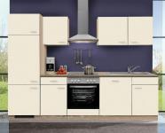 Küchenzeile MANKASIGMA 2 Küche 280cm Küchenblock Vanille/SonomaEiche m. E-Geräte