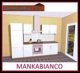 Küchenzeile MANKABIANCO 3 Küche 270cm Küchenblock HochglanzWeiss/Kirsch o.Geräte