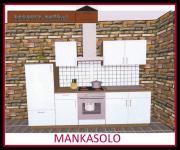 Küchenzeile MANKASOLO 2 Küche 270cm Küchenblock Weiss/Kirschbaum mit E-Geräte