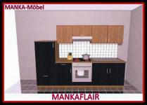 Küchenzeile MANKAFLAIR 2 Küche 270cm Küchenblock HochglanzSchwarz/Kirsch m.Gerät