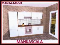 Küchenzeile MANKASCALA 2 Küche 270cm Küchenblock HochglanzWeiss/Eiche m.Geräte