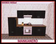Küchenzeile MANKANERO 2 Küche 270cm Küchenblock HochglanzSchwarz/Sonoma m.Geräte