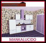 Küchenzeile MANKALUCIDO 2 Küche 270cm Küchenblock HochglanzWeiss/Kirsch m.Geräte