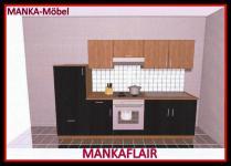 Küchenzeile MANKAFLAIR 1 Küche 270cm Küchenblock HochglanzSchwarz/Kirsch m.Gerät