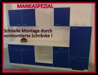Küchenzeile MANKASPEZIAL 3 Küche 270cm Küchenblock Blau/Weiß ohne E-Geräte