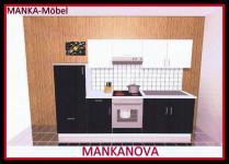 Küchenzeile MANKANOVA 2 Küche 270cm Küchenblock Hochglanz-Schwarz+Weiß m.Geräten